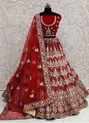 Red Color Bollywood Lehenga Choli