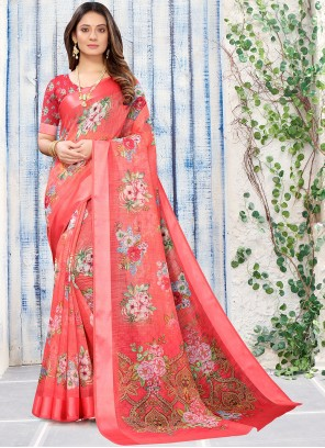 Red Abstract Print Color Casual Saree