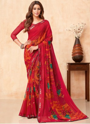Red Color Faux Georgette Casual Saree