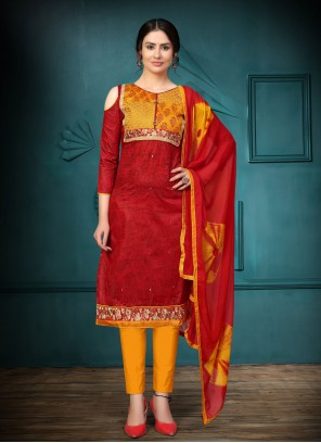 Red Color Churidar Salwar Suit