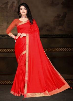 Red Color Vichitra silk Classic Saree