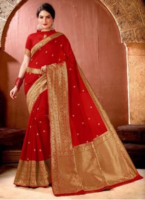 Red Color Weaving Zari Classic Saree