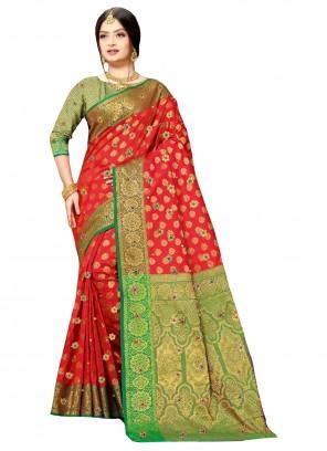 Red Color Contemporary Saree