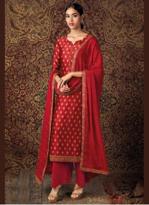 Red Color Designer Palazzo Salwar Kameez