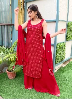 Red Color Designer Palazzo Salwar Suit