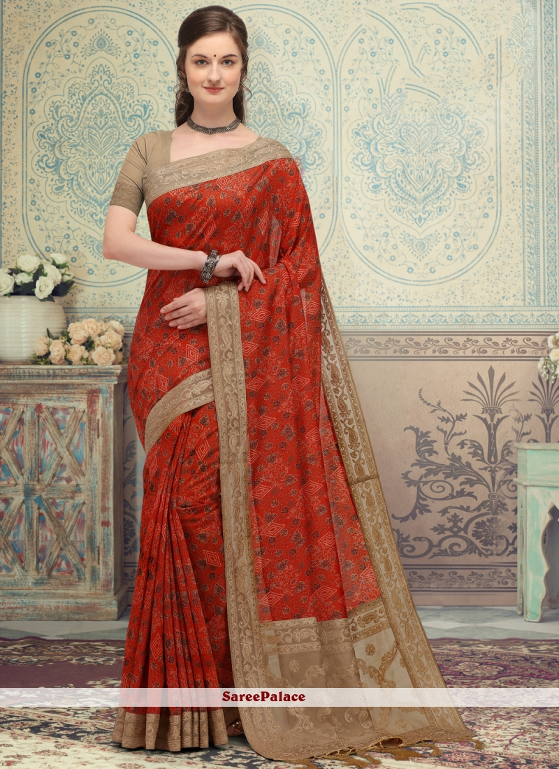 Red Color Printed Designer Saree