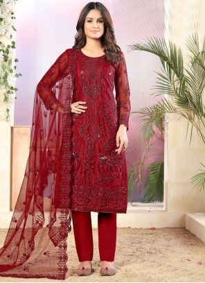 Red Color Pant Style Suit