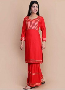 Red Color Party Wear Kurti