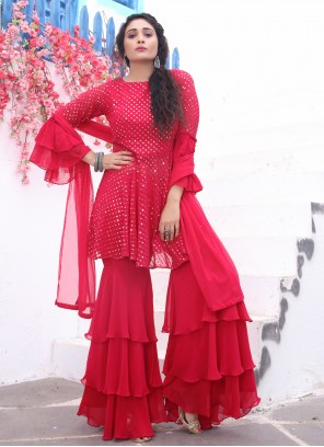 Red Color Readymade Suit