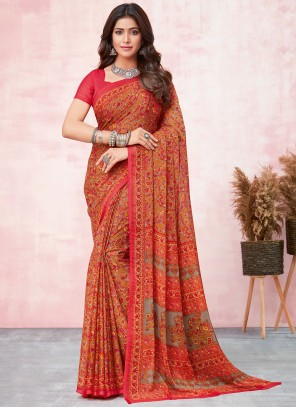 Red Color Abstract Print Saree