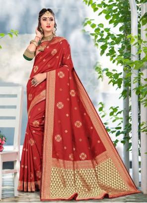 Red Color Traditional Designer Saree