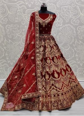 Red Color Trendy Lehenga Choli