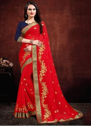 Red Contemporary Saree