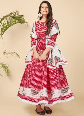 Red Cotton Printed Anarkali Suit
