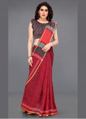 Red Cotton Classic Saree