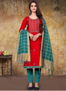 Red Cotton Embroidered Designer Straight Suit