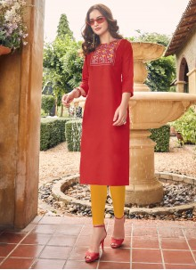 Red Cotton Embroidered Party Wear Kurti
