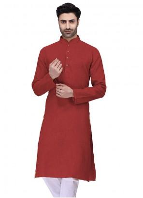 Red Cotton Kurta