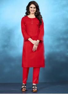 Red Cotton Plain Kurta