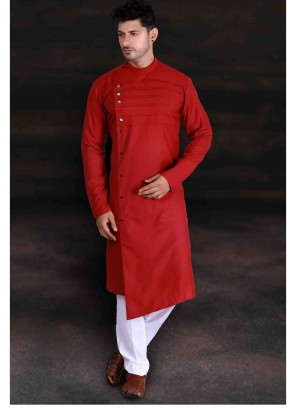 Red Cotton Plain Kurta Pyjama