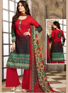 Red Cotton Trendy Palazzo Salwar Suit