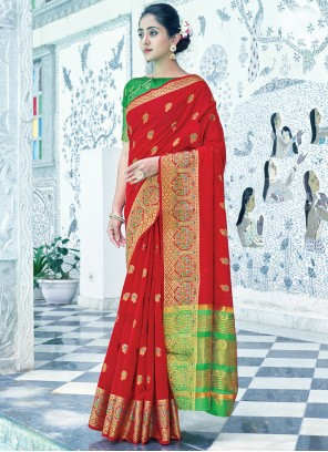 Red Cotton Weaving Traditional Saree