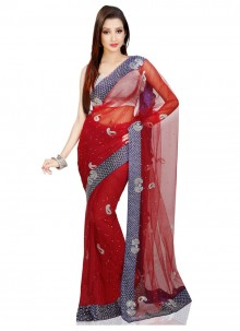 Red Cutdana Work Net Designer Bridal Sarees