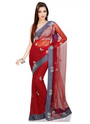 Red Cutdana Work Net Designer Bridal Sarees