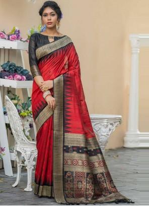 Red Weaving Zari Work Tussar Silk Designer Saree