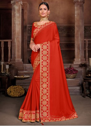 Red Embroidered Poly Silk Traditional Saree