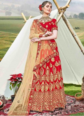 Red Diamond Banglori Silk Trendy Lehenga Choli