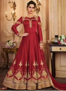 Red Embroidered A Line Lehenga Choli