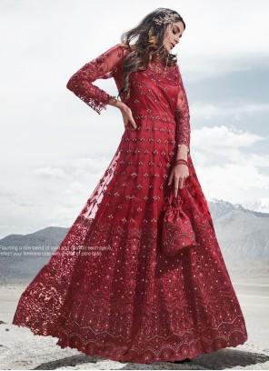 Red Embroidered Anarkali Salwar Kameez
