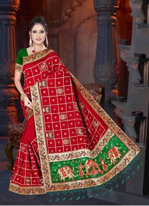 Red Embroidered Art Silk Designer Saree