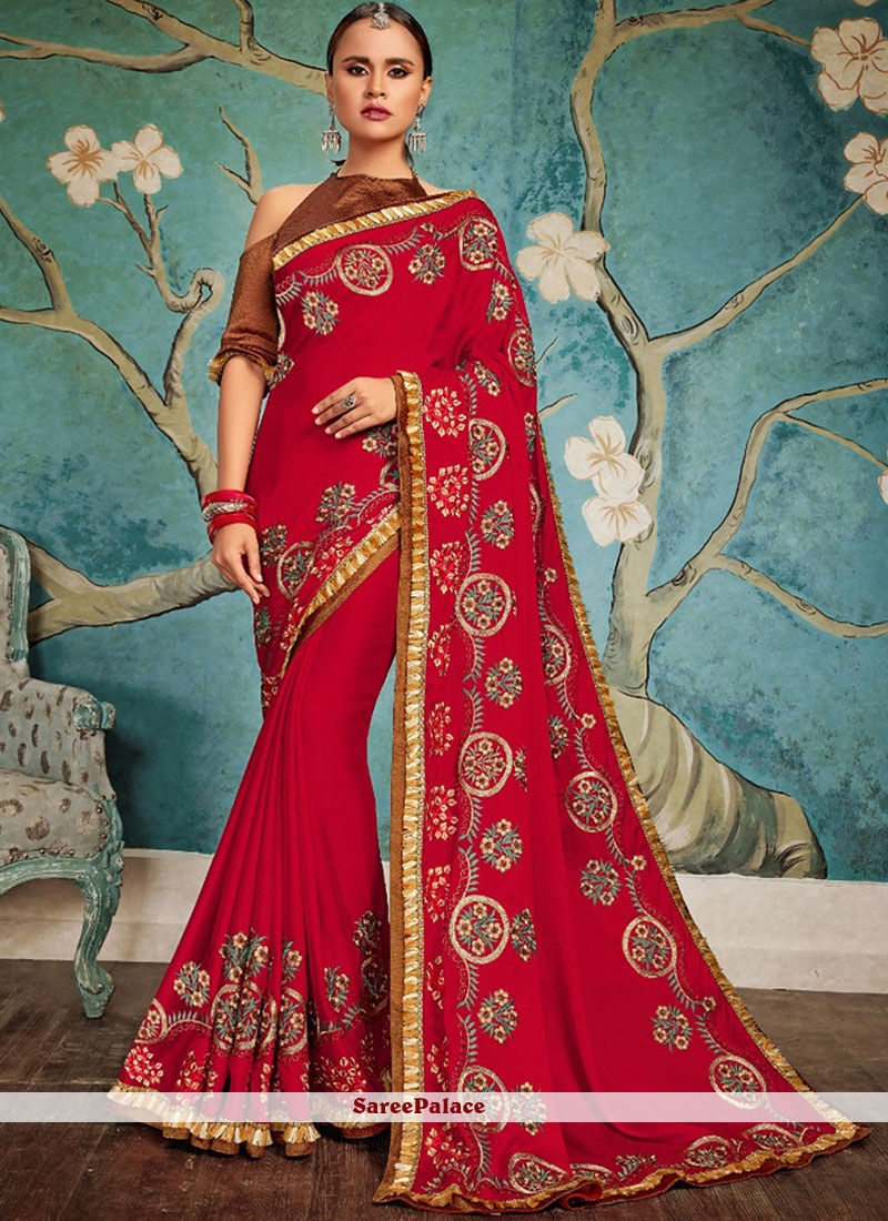 Red Embroidered Art Silk Traditional Designer Saree