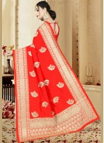 Red Embroidered Art Silk Traditional  Saree