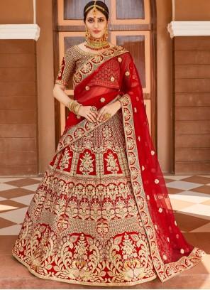 Red Embroidered Bollywood Lehenga Choli