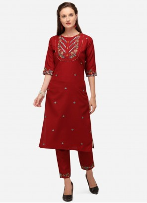 Red Embroidered Casual Party Wear Kurti