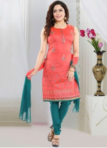 Red Embroidered Churidar Designer Suit