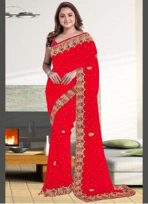 Red Embroidered Classic Saree