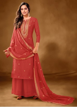 Red Embroidered Cotton Lawn Designer Pakistani Suit