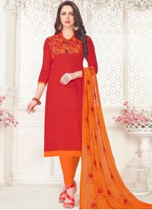 Red Embroidered Cotton Satin Churidar Suit