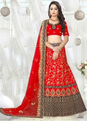 Red Embroidered Designer A Line Lehenga Choli