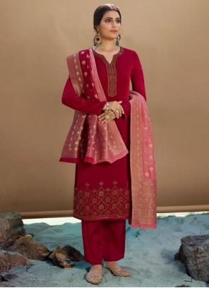 Red Embroidered Designer Palazzo Salwar Kameez