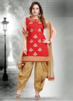 Red Embroidered Designer Patiala Suit