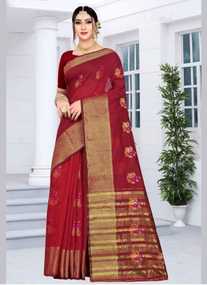 Red Embroidered Designer Saree
