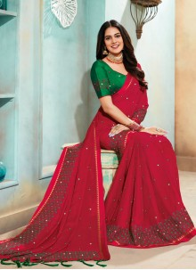 Red Embroidered Faux Chiffon Classic Saree