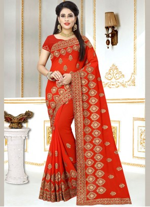 Red Embroidered Faux Georgette Classic Designer Saree