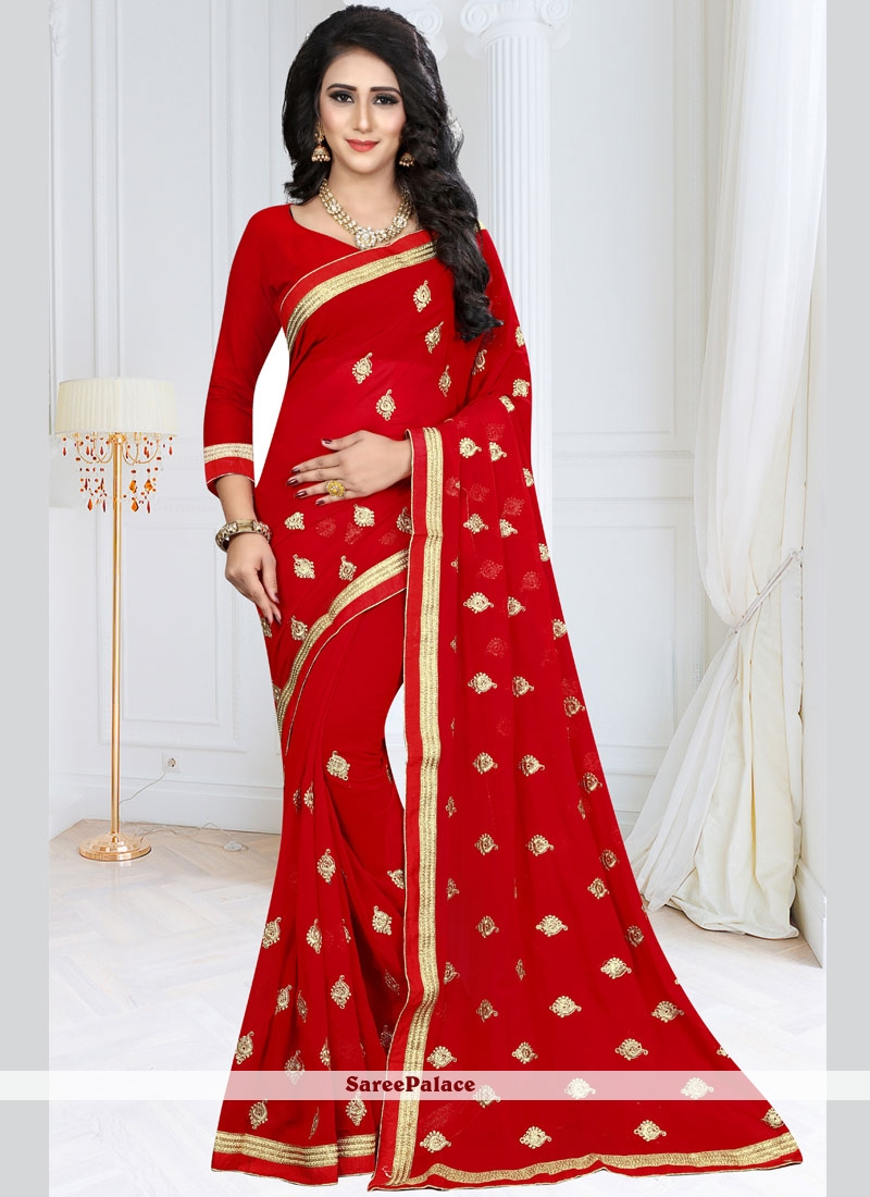 Red Embroidered Faux Georgette Designer Saree