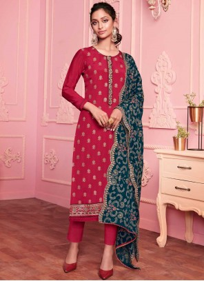 Red Embroidered Faux Georgette Pant Style Suit
